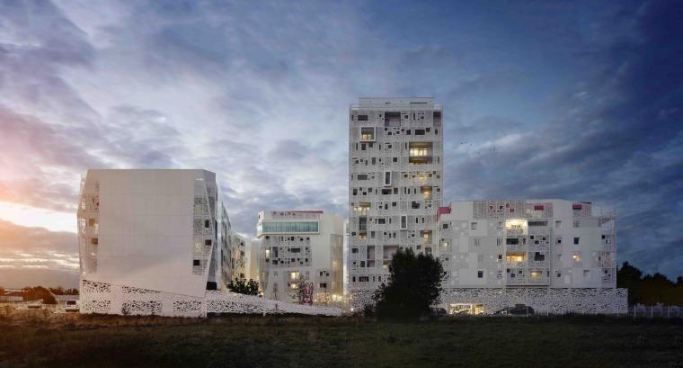 法国花式隔热混凝土的公寓楼 00