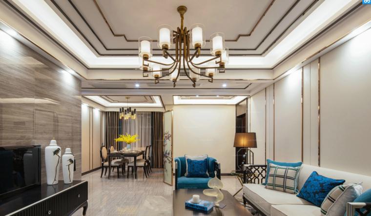 [杭州]典雅蓝调三室两厅两卫住宅设计施工图(含效果图)