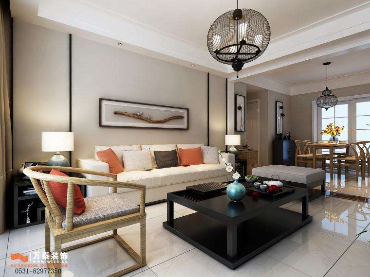 领秀公馆120平三室两厅装修,新中式风格真的很漂亮-客厅.jpg