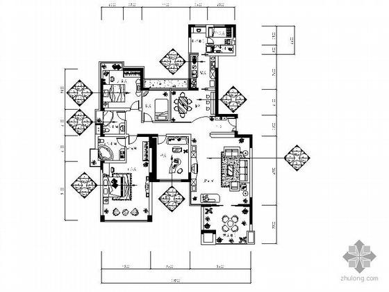 [广州]某五室两厅三卫住宅装修图