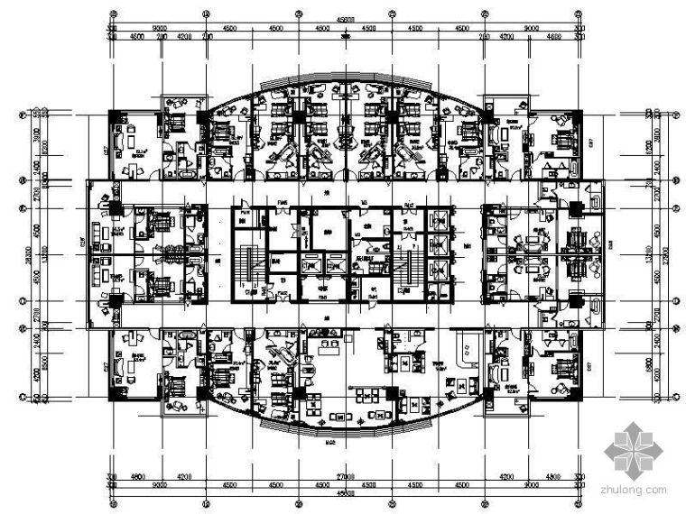 山西某大饭店客房层平面图