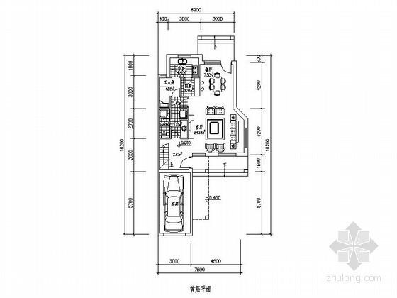 某三层带车库联排别墅端头户型平面图(南入口、223平方米)