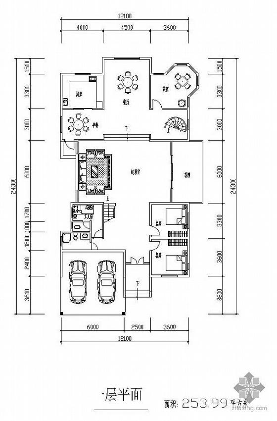三层独栋别墅户型图(254/209/165)