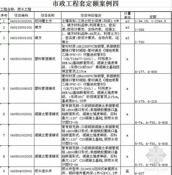 江苏市政工程清单套定额实例(雨水工程)