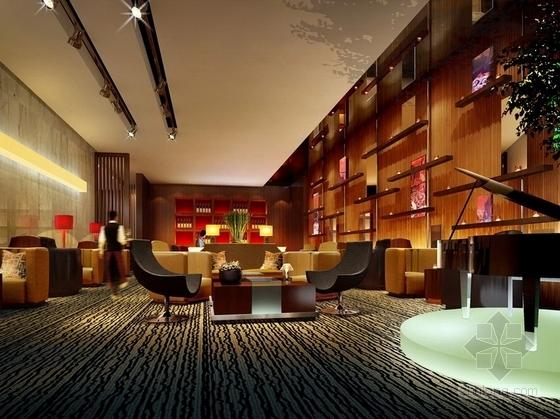 [四川]2.79亿夺标大厦改建四星级高档奢华酒店装修施工图(含方案)大堂吧效果图