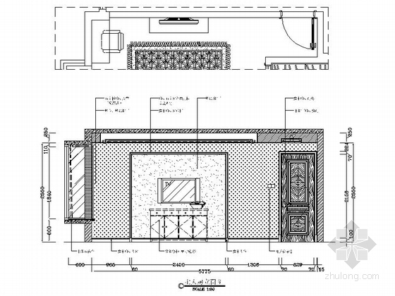 [广州]花园洋房小区欧式风情三居室雅居设计装修图主人房立面图