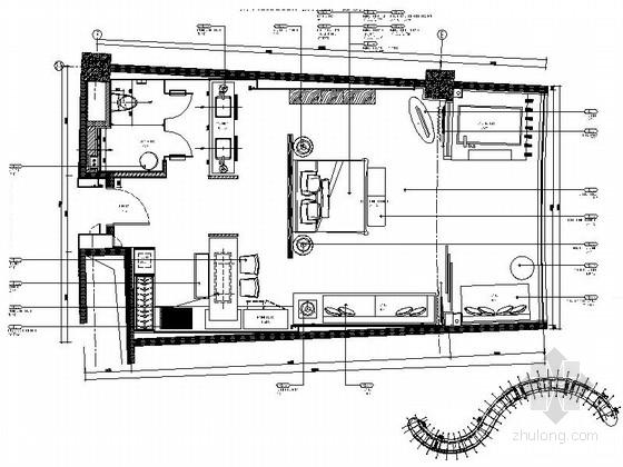 [三亚]五星级度假酒店中式标准大床房装修图(含效果)