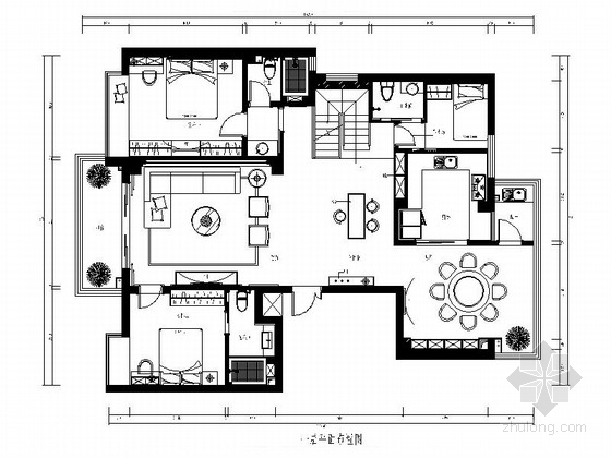 [福州]现代简约风格复式CAD装修图(含效果实景)