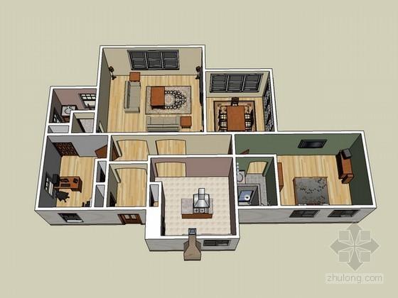 室内场景sketchup模型
