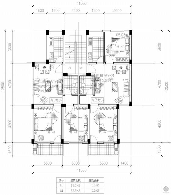 板式多层一梯两户户型图(63/66)