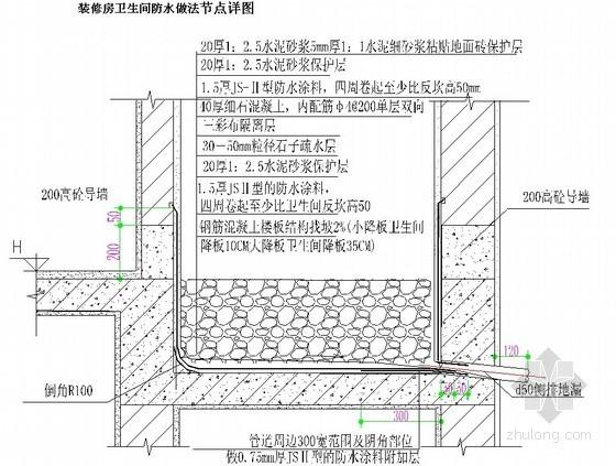 装修房卫生间防水做法节点详图