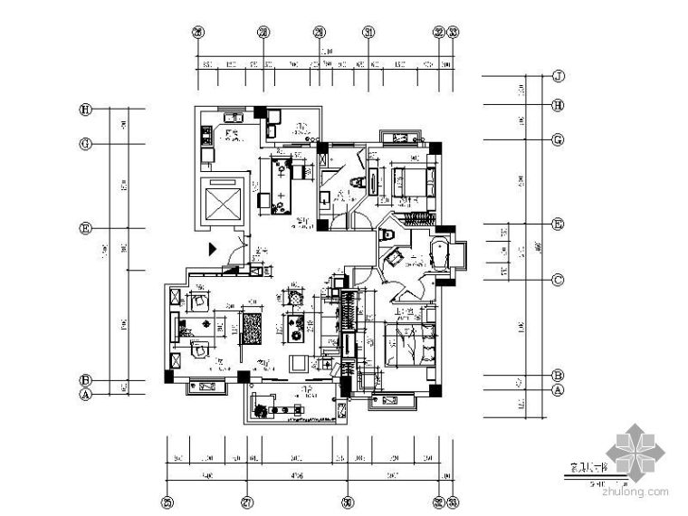 132㎡三室二厅装修图(含效果)