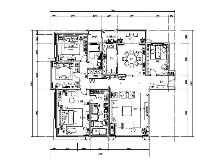 [苏州]温馨浪漫简欧室内设计施工图(含效果图)