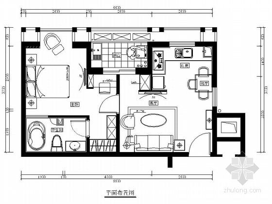 [福州]简约现代两居室样板间室内设计装修图(含效果)