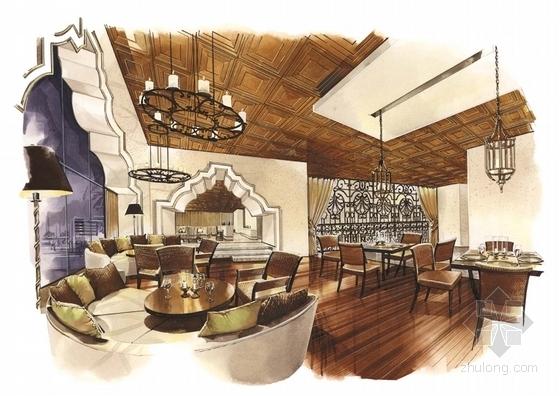 [广东]全球连锁豪华欧式风格商务酒店设计方案总统套房效果图