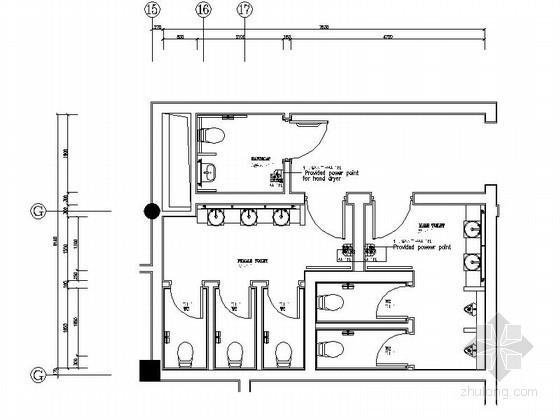 四合院度假酒店卫生间装修施工图
