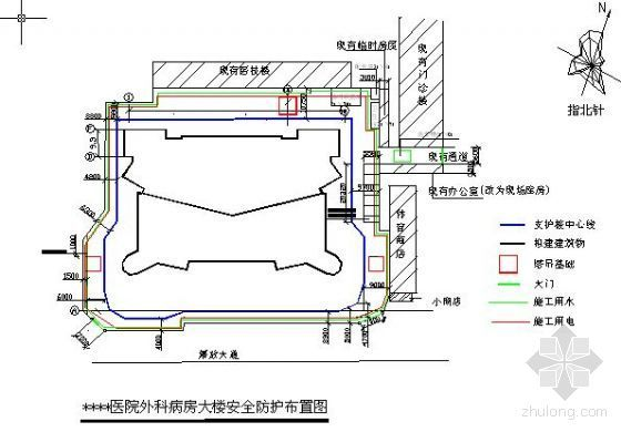 福建某医院大楼安全防护平面布置图