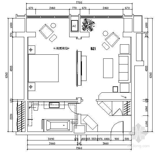 [沈阳]宾馆翻新卫生间给排水图