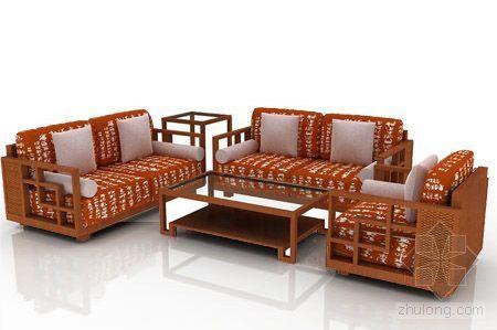 现代中式沙发茶几5件套