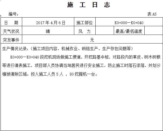 道路工程施工安全日志范本(74页)