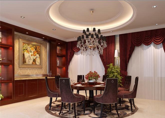 上千家(泉州)三层别墅室内设计施工图(含效果图)-餐厅效果图