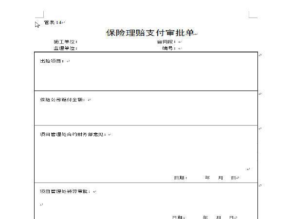 管表14保险理赔支付审批单(模板)