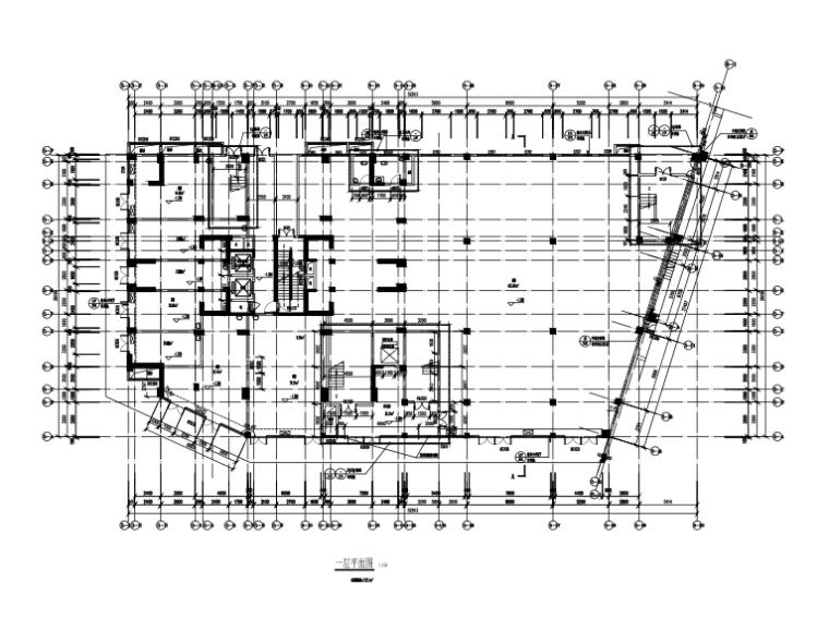 25层框架剪力墙结构综合楼建筑结构施工图-一层平面图