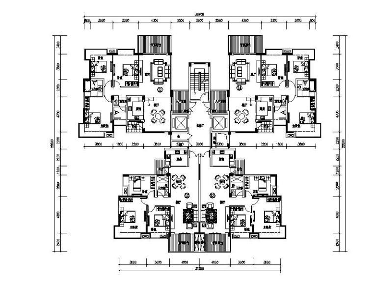 高层塔式住宅楼建筑户型图