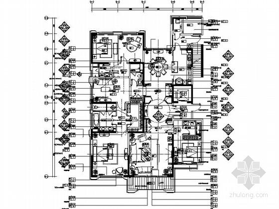 [上海]高端住宅区豪华欧式五居室样板间装修施工图(含实景)
