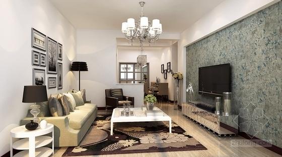 [常德]花园洋房现代简约两居室设计装修图(含效果)客厅效果图