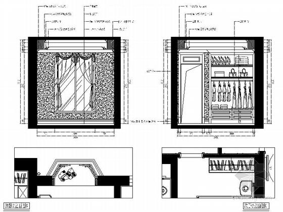 城市中心欧式风格六居室样板房装修图(含效果)次卧立面图