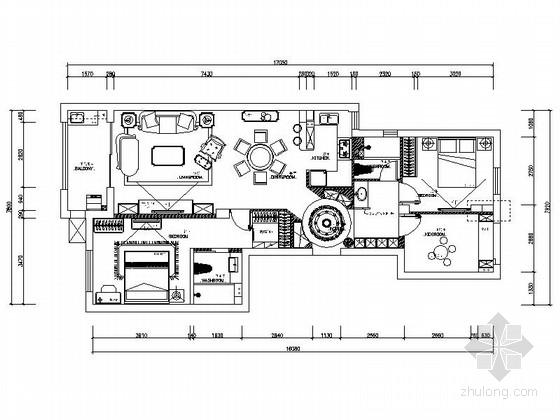 [宁波]高端法式社区简欧三居室装修施工图(含效果)