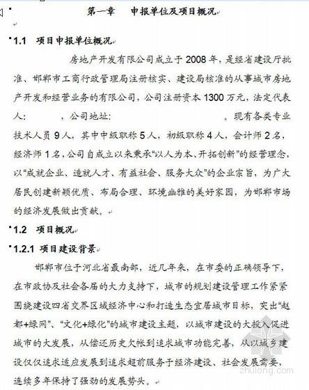 河北邯郸某房地产项目申请报告(代可研报告)