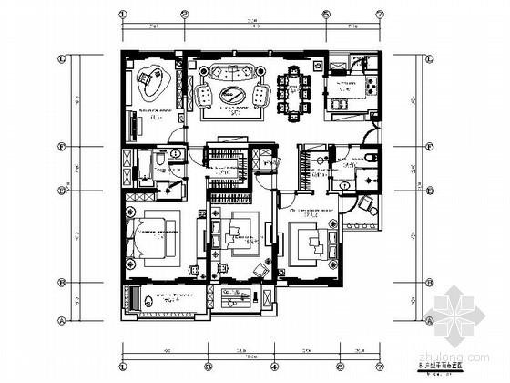 四居室美式样板房装修图