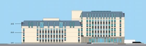 [四川]古典风格绿色度假酒店建筑设计方案文本-古典风格绿色度假酒店立面图