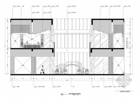 [浙江]水乡古镇国家旅游景区中式风格酒店设计方案图大堂前厅立面图