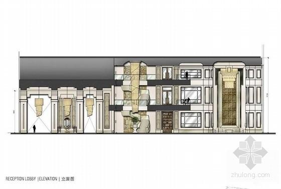 [青岛]连锁旅馆品牌高档五星级商务酒店设计方案大厅接待立面图