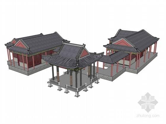 古建廊亭SketchUp模型下载-古建廊亭