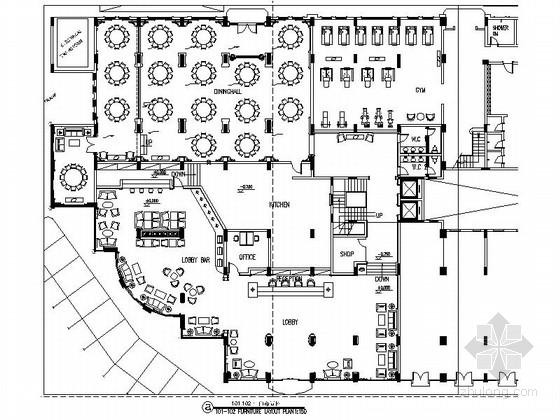 精品高级豪华国际现代风格商务酒店室内装修施工图(含效果)