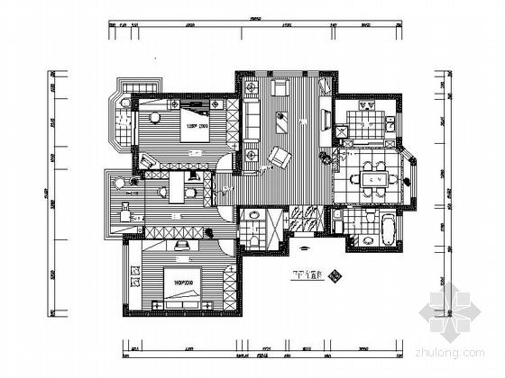 精装三居室两厅两卫室内设计CAD施工图