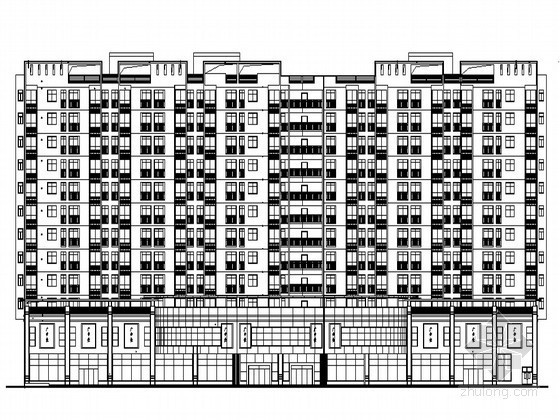 [广州市中心]某十三层商业写字楼建筑施工图(附效果图)