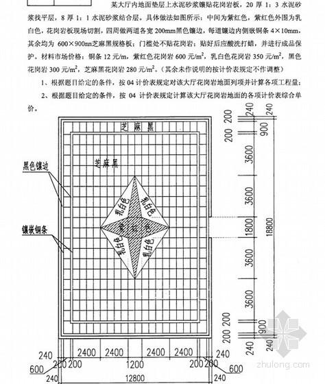 2011年江苏造价员考试试题(装饰造价案例分析)