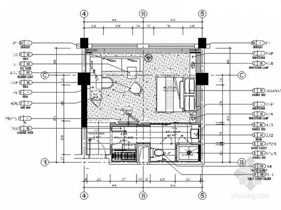 [福建]四星级温泉酒店大床房室内装修施工图