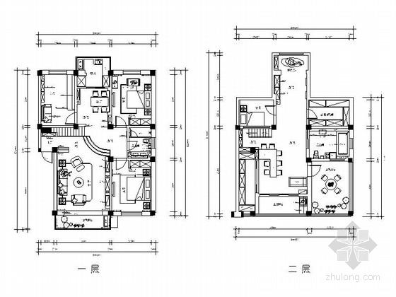 精品温馨雅致现代简约风格两层小别墅装修室内设计施工图(含效果)