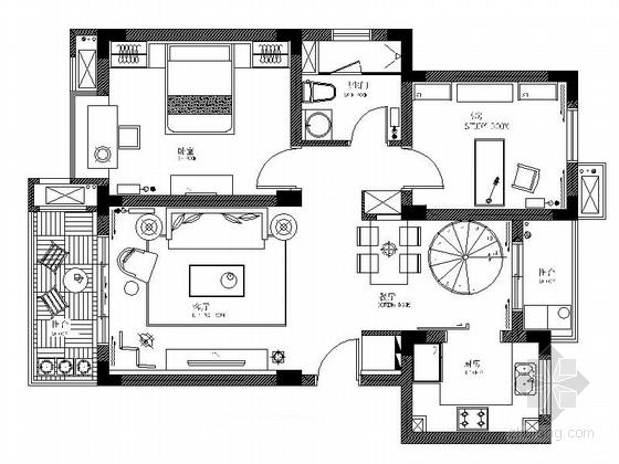 [江苏]高档叠层双层别墅室内设计cad施工图图片
