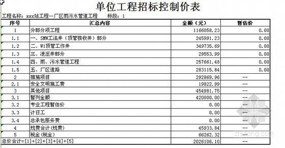 某厂区雨污水管道工程清单报价实例