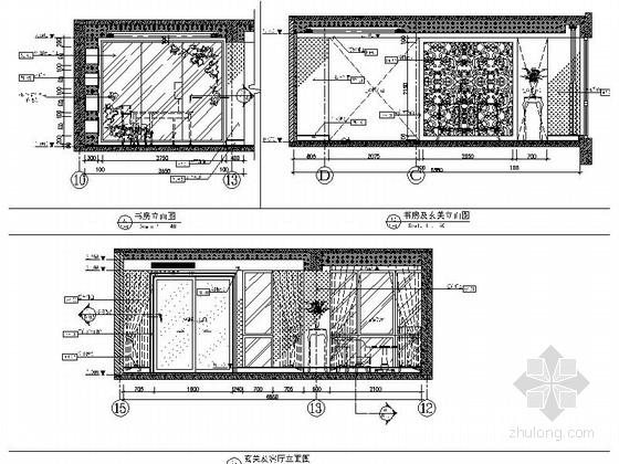 [武汉]主题公园生态区时尚现代三居室装修施工图(含效果实景图及手绘图)书房及玄关