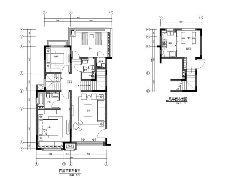[上海]绿地启东三期户型样板间室内设计施工图+效果图+软装方案