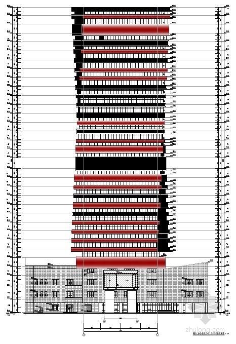 [武汉]超高层百米框架结构办公及会议中心建筑设计方案文本-超高层百米框架结构办公及会议中心建筑立面图