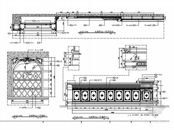 精品豪华欧式风格三层别墅室内装修施工图(含方案效果图)节点图